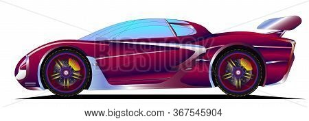 Car Colorful Vector Illustration. Coloured Vehicle Icon, Banner, Image For Mobile App And Website. C