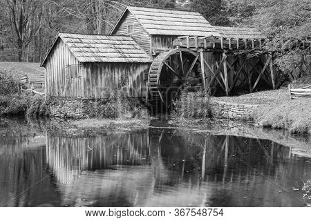Mabry Mill in black and white - Blue Ridge Parkway, Virginia USA