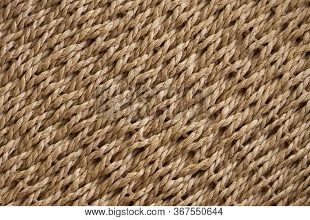 Yellow Wicker Basket Texture. Traditional Handcraft Weave. Wicker Repeating Texture. Bamboo Pattern.