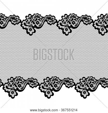 Lace horizontal seamless pattern border with decorative ornament and grid