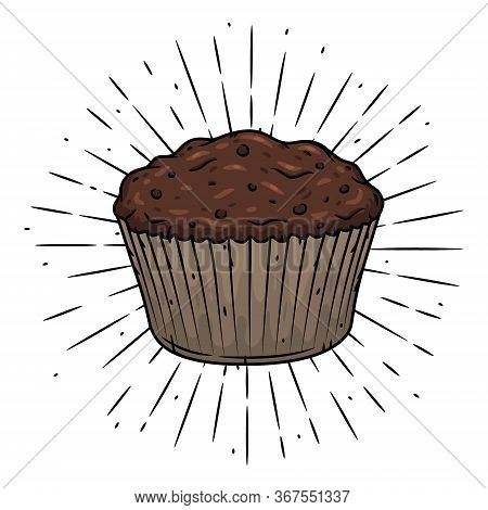 Muffin. Hand Drawn Vector Illustration With Muffin And Sunburst. Used For Poster, Banner, Web, T-shi