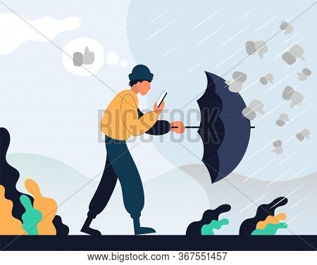 Guy Goes With The Phone In His Hands And Hides Behind An Umbrella From Dislikes. Color Vector Flat C
