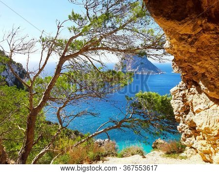 Bright Colors Of The Wild Nature Of The Bay Of Cala D'hort In Ibiza In Summer In Balearic Island