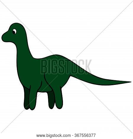 Dinosaur. The Herbivorous Lizard Is Green. Color Vector Illustration On An Isolated White Background