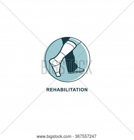 Rehabilitation Logo Vector. Recovery After Injury Emblem. Foot In Plaster Logo