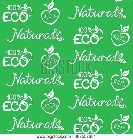 ECO, natural background. Vector seamless pattern for natural product, eco friendly handmade product, farm market, food market, natural product packaging. ECO, Bio, organic, natural products concept