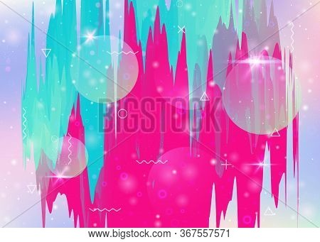 Universe Landscape With Holographic Cosmos And Abstract Future Background. Neon Mountain Silhouette