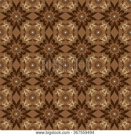 Elegance Flower Motifs On Parang Batik Design With Golden Brown Color