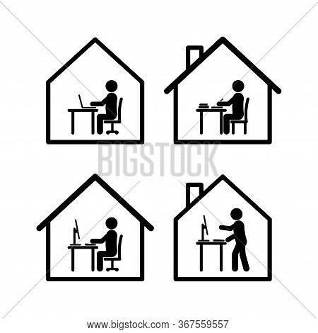 Work At Home Symbol Set In Black And White Stick Figure Style In Several Actions With Computers, Tab