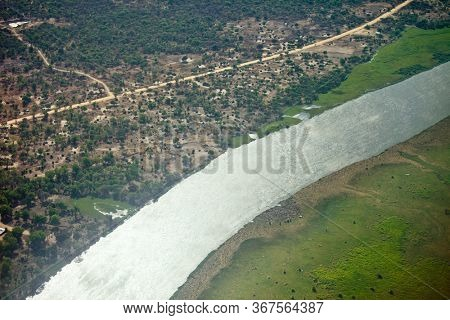 High aerial view of the White Nile River flowing through South Sudan.