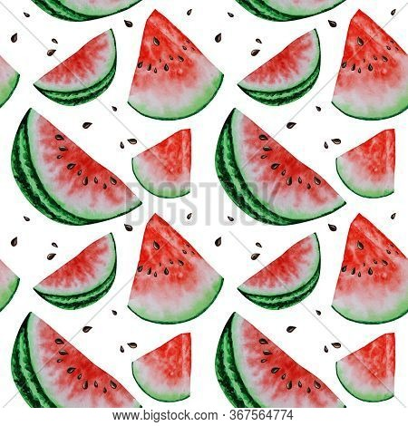 Watermelon Slice Fruit Seamless Patterns Watercolor Hand Drawn Illustration, Fresh Healthy Food - Na