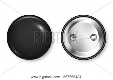 Realistic Black Blank Badge. 3d Glossy Round Button. Pin Badge Mockup. Vector Illustration.