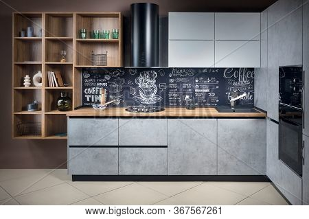 Massive Cottage Urban Rustic Loft Style Contemporary Kitchen Interior In Wooden Brushed Oak Table To
