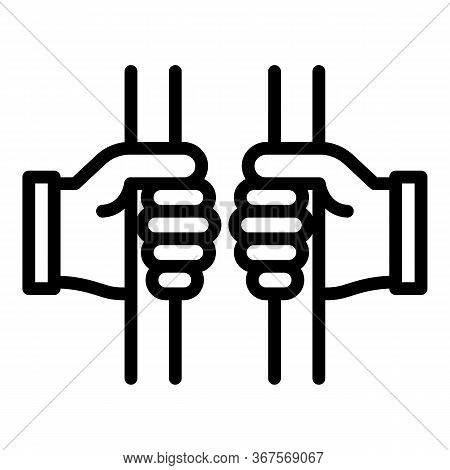 Prison Hand Gate Icon. Outline Prison Hand Gate Vector Icon For Web Design Isolated On White Backgro