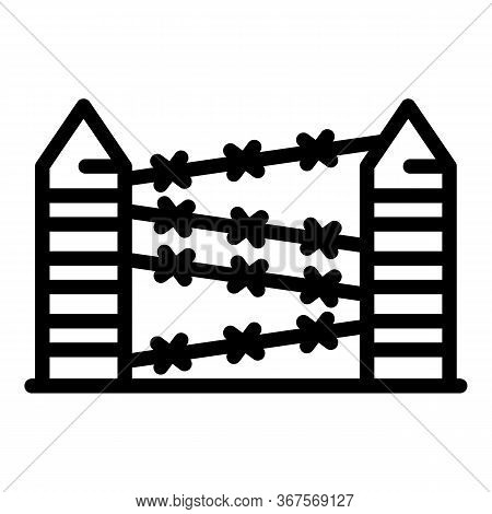 Prison Fence Wire Icon. Outline Prison Fence Wire Vector Icon For Web Design Isolated On White Backg
