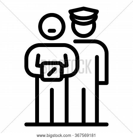 Prison Man With Guard Icon. Outline Prison Man With Guard Vector Icon For Web Design Isolated On Whi