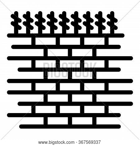 Prison Brick Wall Icon. Outline Prison Brick Wall Vector Icon For Web Design Isolated On White Backg