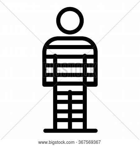 Chained Striped Prison Icon. Outline Chained Striped Prison Vector Icon For Web Design Isolated On W