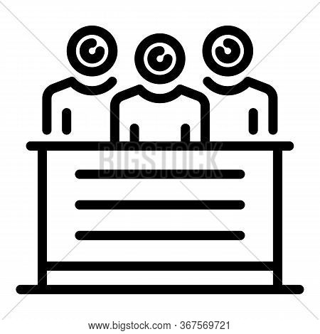 Notary Agency Team Icon. Outline Notary Agency Team Vector Icon For Web Design Isolated On White Bac