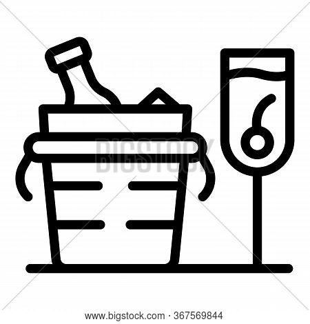 Champagne In A Bucket With Ice Icon. Outline Champagne In A Bucket With Ice Vector Icon For Web Desi