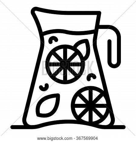 Pitcher Of Lemonade Icon. Outline Pitcher Of Lemonade Vector Icon For Web Design Isolated On White B