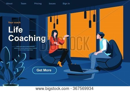 Life Coaching Isometric Landing Page. Personal Consultation With Coach In Office Website Template. E