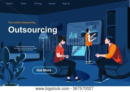 Outsourcing Service Isometric Landing Page. Developer And Designer Working With Laptop In Office Web
