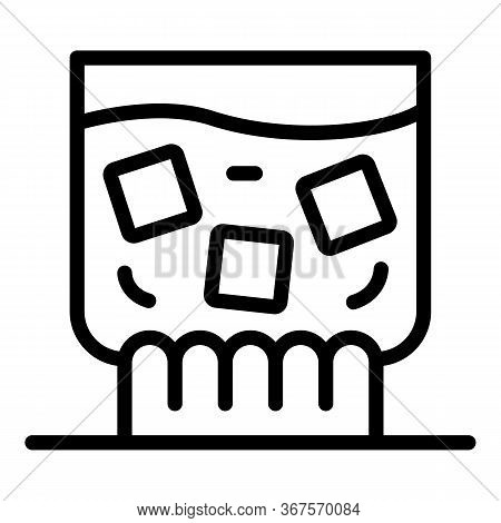 Whiskey With Ice In A Glass Icon. Outline Whiskey With Ice In A Glass Vector Icon For Web Design Iso