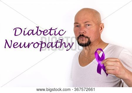 Diabetic Neuropathy Word, Medical Term Word With Medical Concepts On White Background. Purple Ribbon