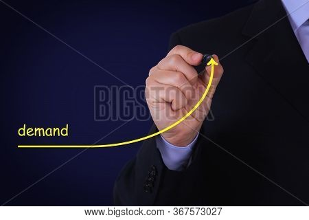 Businessman Draw Growing Line Symbolize Growing Demand. Business, Technology, Internet And Network C