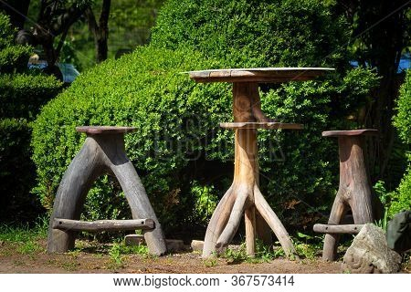 Table And Chairs Resemble Of Tree Trunk. Nature