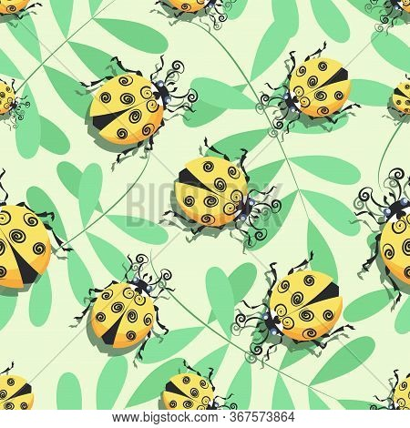 Ladybug, Ladybird. Acacia Tree, Leaves. Pattern. Vector Cartoon Character. Cute Yellow Ladybugs