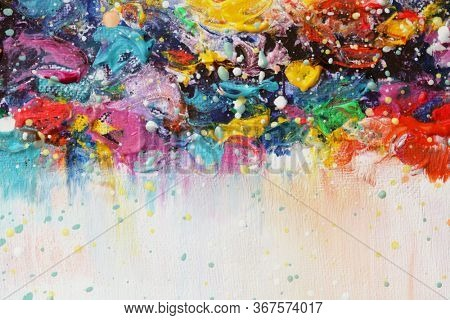 Art Abstract acrylic and watercolor smear blot painting. Color rainbow texture background.