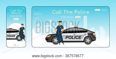 Call Police Responsive Landing Page Flat Vector Template. Civil Service Homepage Layout. One Page We