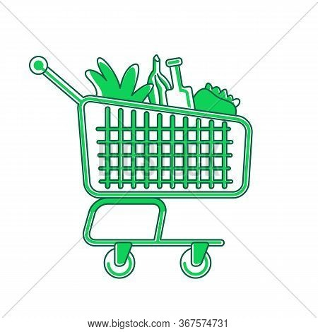 Shopping Cart Green Linear Object. Trolley With Products, Market Pushcart Thin Line Symbol. Supermar