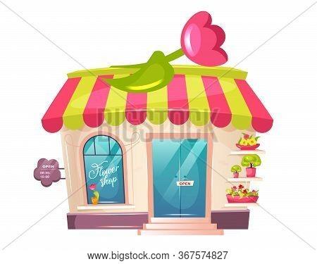 Flower Shop Exterior Cartoon Vector Illustration. Florist Place Shopfront Flat Color Object. Cute Bu
