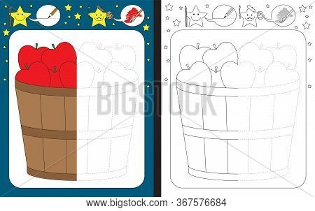 Preschool Worksheet For Practicing Fine Motor Skills - Tracing Dashed Lines - Finish The Illustratio