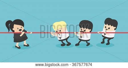 Businesswoman And Businessman Tug Of War Rivalry Concept, One To Three