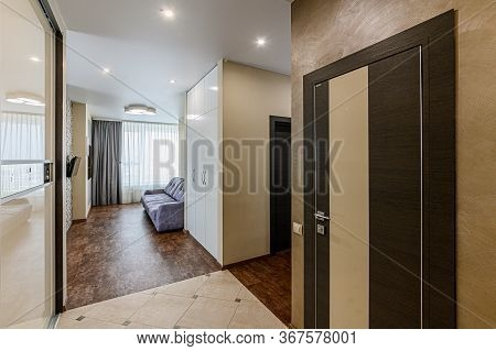 Russia, Moscow- January 27, 2020: Interior Room Apartment Modern Bright Cozy Atmosphere. General Cle