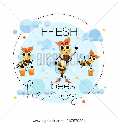 Fresh Honey. Proprietress Bee. Hostess Bee. Vector Honey Label, Emblem Design.swarm Bees Fly In The