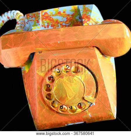 Old Dial Telephone Roughly Colored With Oil Paints. Orange And Blue Landline Telephone. Painted Vint