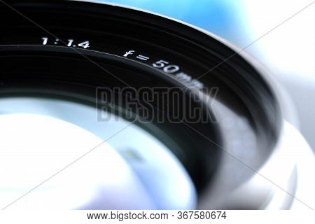 Vintage Manual Focus Lens. Standard Lens. Vintage Analog Photographic Equipment With Shallow Depth O