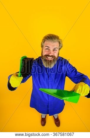 Cleaning. Clearing Tools. Household. Housekeeping. Besom. Broom. Bearded Man With Little Broom. Clea