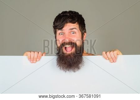 Advertising Board. Copy Space. Excited Man With Blank Board. Space For Text. Bearded Man Holds Empty