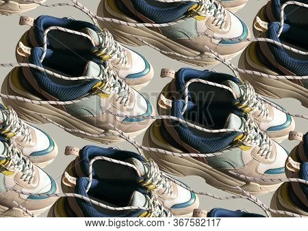 White Platform Sneakers With Bright Color Accents Pattern On Beige Background. Close View Of Fashion