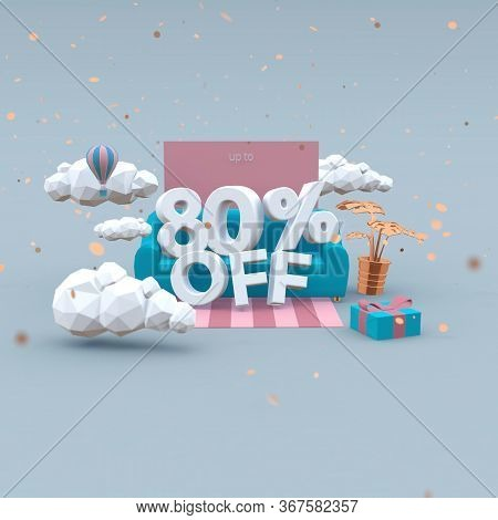 80 Eighty Percent Off 3d Illustration In Cartoon Style. Sale Concept.