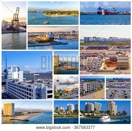 Collage About Port Everglades At Ft. Lauderdale, Florida, Usa