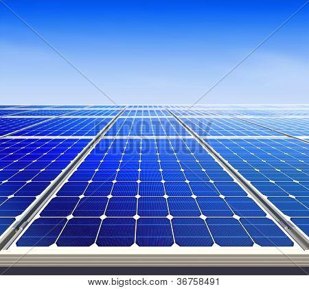 Renewable, alternative solar energy, sun-power plant