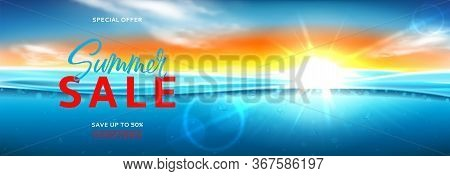 Horizontal Promo Banner For Summer Sale. Vector Illustration With Deep Underwater Ocean Scene. Reali