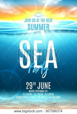Summer Sea Party Poster Template. Vector Illustration With Deep Underwater Ocean Scene With Seashell
